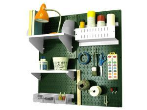 Wall Control Pegboard Hobby Craft Pegboard Organizer Storage Kit with Green Pegboard and White Accessories