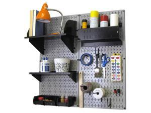Wall Control Pegboard Hobby Craft Pegboard Organizer Storage Kit with Gray Pegboard and Black Accessories