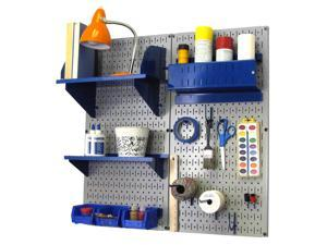 Wall Control Pegboard Hobby Craft Pegboard Organizer Storage Kit with Gray Pegboard and Blue Accessories