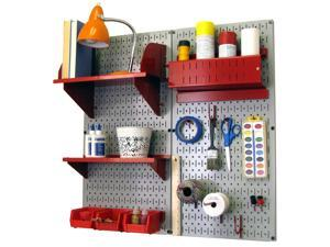 Wall Control Pegboard Hobby Craft Pegboard Organizer Storage Kit with Gray Pegboard and Red Accessories
