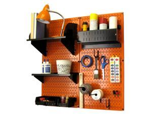 Wall Control Pegboard Hobby Craft Pegboard Organizer Storage Kit with Orange Pegboard and Black Accessories