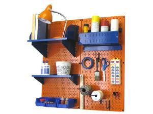 Wall Control Pegboard Hobby Craft Pegboard Organizer Storage Kit with Orange Pegboard and Blue Accessories