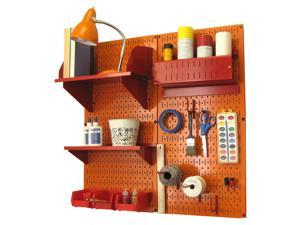 Wall Control Pegboard Hobby Craft Pegboard Organizer Storage Kit with Orange Pegboard and Red Accessories