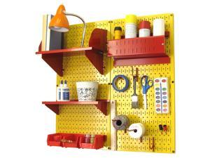 Wall Control Pegboard Hobby Craft Pegboard Organizer Storage Kit with Yellow Pegboard and Red Accessories