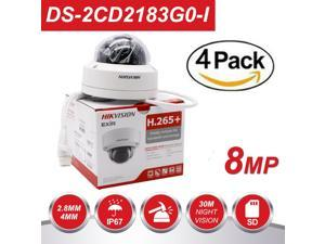 Hikvision 8MP H265+ 4K HD DS-2CD2183G0-I PoE IP Network Dome Security Camera with EXIR 98ft Night Vision, Smart H.265+ WDR, SD Card Slot, ONVIF, IP67 [English Version] (2.8mm Lens,4-Pack)