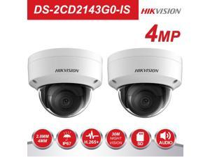 Hikvision New Version IP Camera DS-2CD2143G0-IS 4MP 2.8mm PoE Dome Camera 3-Axis Adjustment HD 2K IR Ip67 IK10 H.265 Support 2-Way Audio ONVIF ISAPI English Version, 2 Pack