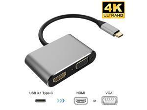 USB C to HDMI VGA Adapter,Wanmingtek USB C Hub with 4K HDMI, 1080P VGA, 2 Screens Same Display,Compatible with MacBook Pro/Air/ipad Pro 2018/Dell XPS/Nintendo Switch/Samsung More