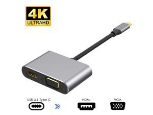 USB C to HDMI VGA Adapter,Jansicotek USB Type-C Hub with 4K HDMI, 1080P VGA, Compatible with MacBook Pro, Chromebook and More USB Type-C Devices
