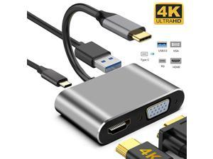 USB C to 4K HDMI VGA Adapter ,Jansicotek 4-in-1 Type C Hub with USB 3.0 Charging Power PD Port Compatible for Nintendo Switch/MacBook Pro/iPad Pro/ Samsung Galaxy/Dell XPS -Gray
