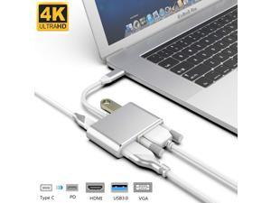 Jansicotek USB C to 4K HDMI/VGA/USB3.0/PD port Multiport Adapter - Thunderbolt 3 Compatible - 4 in 1 USB-C HUB Compatible with MacBook/Pro/Air,iPad Pro,Tablets and More Type C Laptops -Silver