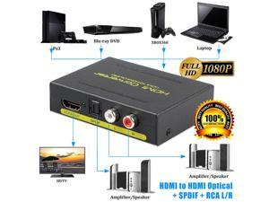 Jansicotek 4K Hdmi To Hdmi Optical + Spdif + Rca L/R Extractor Converter Audio Splitter Support Full HD,4K@30Hz,1080P,3D