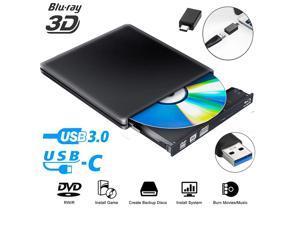 External DVD CD Blu-ray Drive USB3.0/USB-C BD 3D Blu-ray Player Portable DVD/CD-ROM BD-ROM Burner. High-Speed Data Transfer, Compatible with PC Laptops Desktops(Black)
