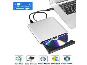Aluminum External DVD CD Drive USB 3.0 Type-C Burner Writer Drive Player High Speed Data Transfer for Laptop/Desktop, Silver