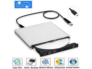 Aluminum External Latest Type C USB 3.0 Ultra Slim Portable DVD Rewriter Burner,External DVD Drive Optical Drive CD+/-RW DVD +/-RW Superdrive for Apple Mac Macbook Pro and laptop(Silver)