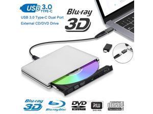 USB3.0/USB-C Blu Ray Drive,Wanmingtek USB 3.0 External CD/DVD Burner/Writer, 3D 6X Blu-Ray Disc Playback, Portable BD/CD/DVD Burner Drive with Polished Metal Chrome for Mac, Laptop, PC, Silver