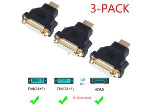 HDMI to DVI Adapter, Jansicotek BI-Direction HDMI Male to DVI 24+5 Female (3 Pack) 1080P Converter for PS3,PS4,TV Box,Blu-ray,Projector,HDTV