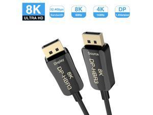 CABLEDECONN USB-C to DisplayPort 8K Cable 2M 7680x4320 8K@60Hz 4K@144Hz HDTV Adapter for New MacBook 2017 2018 Dell XPS 6.6ft 2m