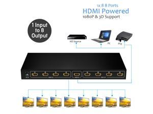HDMI Splitter 1 in 8 Out,Jansicotek 8 Port Support 3D Full Ultra HD1080P with Power Adapter HDMI Splitter Audio Video Distributor