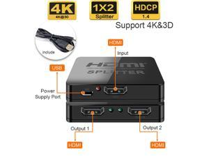 Jansicotek HDMI Splitter 1 in 2 Out, (One Input To Two Outputs) HDMI 1.4 Splitter, Supports 4Kx2K,HDCP 1.2 & 3D 1080P Compatible for Xbox PS4 Blu-Ray HDTV (Black)