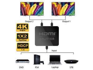 HDMI Splitter,Jansicotek 4K HDMI Splitter, 1 in 2 Out HDMI Splitter HDCP Ultra HD 4k x 2K 3D 1080p 2160p with Power Cable (Black)