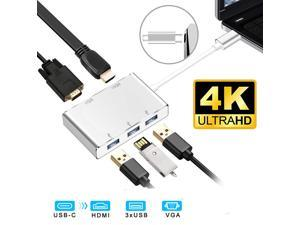 USB C Hub, 5-in-1 USB C Adapter (Thunderbolt 3) to 4K HDMI,1080P VGA, 3 USB 3.0, USB C Dock Compatible Apple MacBook Pro MacBook Air Pro, Chromebook and Other Type C Laptops
