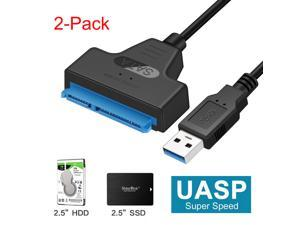 Wanmingtek 22 pin USB Cable 3.0 to SATA Adapter, USB 3.0 to 2.5 inchs Hard Drive Disk SSD HDD Hard Drive Adapter Support UASP - 2 Pack