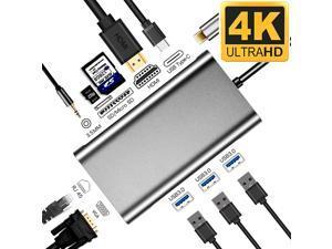 USB C Hub, USB C Adapter,Jansicotek Thunderbolt 3 hub, Multiport USB C to HDMI Adapter with Type C Charging Port, USB 3.0 Ports, Ethernet Port for MacBook Pro 2017/2016 (10 in 1)