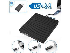 External DVD Drive,Jansicotek USB 3.0/Type C Dual Port Portable Slim DVD Drive,DVD Player High Speed Data Transfer Perfect for Mac OS/ Win7/Win8/Win10/Vista PC Desktop Laptop,Black