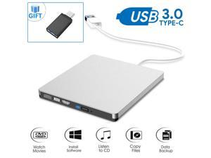 USB3.0 DVD Drive for PC DVD Drive Computer CD Drive CD/DVD-ROM External Portable Type-c DVD Burner Palyer/rewriter Compatible with The Latest MacBook pro/asus/dell Laptop etc. with USB-C Port,Silver