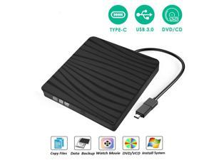 USB3.0 DVD Drive for PC DVD Drive Computer CD Drive CD/DVD-ROM External Portable Type-c DVD Burner Palyer/rewriter Compatible with The Latest MacBook pro/asus/dell Laptop etc. with USB-C Port,Black