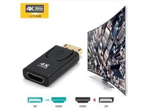 New 4K Display Port DisplayPort DP Male To HDMI Female Converter Adapter Video Audio Connector Fit For MacBook Pro Air, 2-Pack