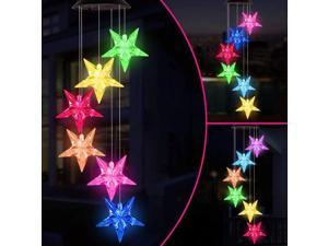 Wind Chimes, Color Changing Solar Wind Chime Outdoor Mobile Waterproof Six Stars LED Solar String Lights Gifts for Home Party Night Garden Hanging Decoration