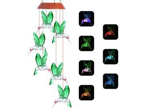 Wind Chimes, Color Changing Solar Wind Chime Outdoor Mobile Waterproof Six Hummingbird LED Solar String Lights Gifts for Home Party Night Garden Hanging Decoration