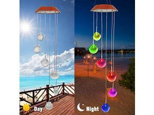 Wind Chimes, Color Changing Solar Wind Chime Outdoor Mobile Waterproof Six Seashells LED Solar String Lights Gifts for Home Party Night Garden Hanging Decoration