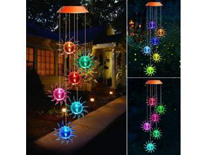 Wind Chimes, Color Changing Solar Wind Chime Outdoor Mobile Waterproof Six Sun LED Solar String Lights Gifts for Home Party Night Garden Hanging Decoration