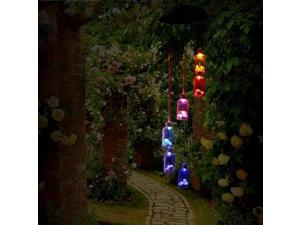 Wind Chimes, Color Changing Solar Wind Chime Outdoor Mobile Waterproof Six Lucky Bottle LED Solar String Lights Gifts for Home Party Night Garden Hanging Decoration