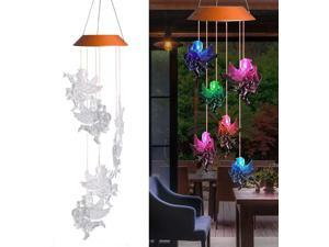 Wind Chimes, Color Changing Solar Wind Chime Outdoor Mobile Waterproof Six Angel LED Solar String Lights Gifts for Home Party Night Garden Hanging Decoration