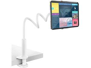 """Gooseneck Tablet Stand & Cell Phone Holder,Universal 360° Flexible Tablet Mount  Lazy Arm Holder Clamp Mount Bracket Bed Dock Compatible with Pad Mini/Air 2/3/4,Tab 2 3 and 4.7-10.5"""" Devices,White"""