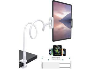 """Gooseneck Tablet Stand Holder, Phone Mount Stand for iPad Mini Air/iPhone/Samsung Galaxy Tabs/Amazon Kindle Fire HD and More 4.5 - 10.5"""" Devices, Overall Length 30in - White"""