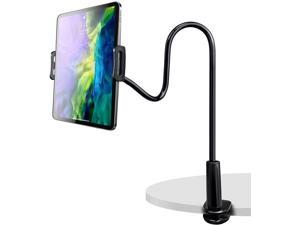 """Tablet Stand Holder, Universal Height Adjustable 360 Degree Rotation Aluminum Alloy Cradle Tablet Holder, Gooseneck Flexible Arm Stand Clamp Mount for 4.7""""-10.5"""" Cell Phones, Tablets, Black"""