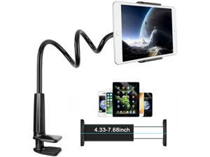 """Gooseneck Tablet Holder, Lamicall Tablet Mount - Flexible Arm Clip Tablet Stand Compatible with iPad Mini Pro Air, Galaxy Tabs, Switch, More 4.7-10.6 """" Devices - Black"""