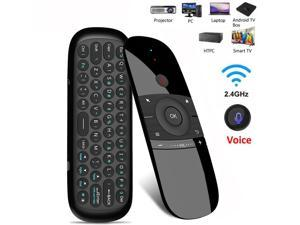 W1 2.4GHz Wireless Air Mouse Remote with Google Voice Assistant, QWERTY Keyboard, Build-in Rechargeable Battery for Nvidia Shield, Android TV Box and