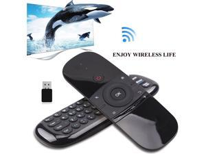 WeChip W1 Air Mouse Remote, 2.4G Backlit Voice Remote Control with Wireless Keyboard Touchpad, Anti-Lost Function, for Nvidia Shield, Android TV Box, Smart TV, PC, Projector, HTPC - Black