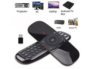WeChip W1 2.4GHz Mini Wireless Air Fly Mouse, IR Learning Air Remote Mouse for Android TV Box IPTV PC Pad with Rechargeable Li-ion Battery (Black)