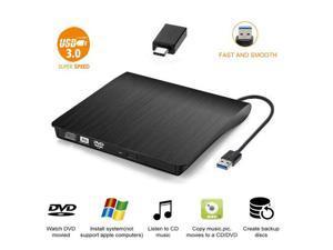 XD001 External CD DVD Drive, USB C Writer Type C USB 3.0 CD DVD RAM Burner Combo High Speed Re-Writer for Laptop Notebook PC Desktop Computer (Black)