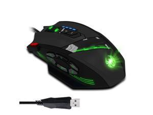 Zelotes C-12 4000 DPI High-Precision Programmable Laser Gaming Mouse for PC, MMO FPS, 6 Side Buttons, 12 Programmable User Buttons, rgb LED Lighting (Black)