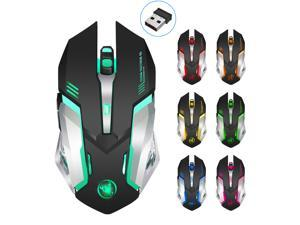 Jansicotek M10 Rechargeable Wireless Gaming Mouse with 2 Side Buttons, 2400 DPI, Ergonomic Design, 5 Buttons-Black