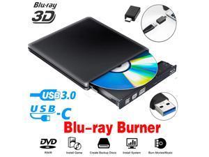 Jansicotek Aluminum External DVD Blu-Ray Burner Player Drive USB 3.0 Type-C CD DVD +/-RW Optical Drive Slim CD/DVD ROM Rewriter Writer Reader Portable for Laptop Desktop MacBook Mac OS Windows, Black