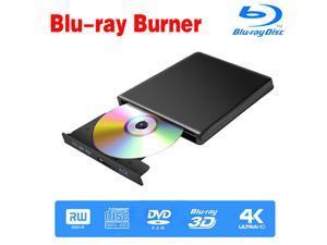 Jansicotek Aluminum External Blu-Ray CD DVD Burner Player Drive for Laptop Portable USB Tpye-C CD/DVD+/-RW Drive/DVD Player CD ROM Burner for Laptop Desktop PC Windows Linux OS Apple Mac,Black