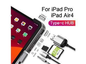 iPad Pro USB C Hub, 6-in-1 Adapter for iPad Pro 2021 2020 2018 12.9/11 inch, iPad Air 4 Docking Station with 4K HDMI, USB-C PD Charging, SD/Micro Card Reader, USB 3.0, 3.5mm Headphone Jack